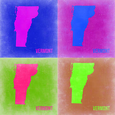 Modern Poster Painting - Vermont Pop Art Map 2 by Naxart Studio