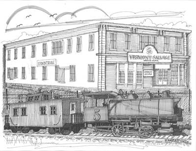 Caboose Drawing - Vermont Salvage And Train by Richard Wambach