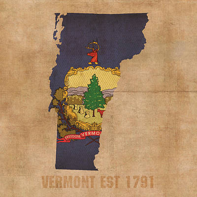 Vermont Map Mixed Media - Vermont State Flag Map Outline With Founding Date On Worn Parchment Background by Design Turnpike