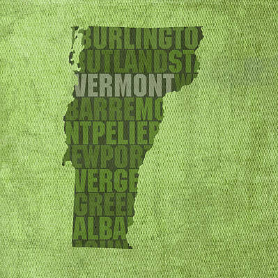 Wall Art - Mixed Media - Vermont Word Art State Map On Canvas by Design Turnpike