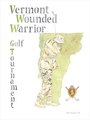 Iraq Painting - Vermont Wounded Warrior Golf Tournament by Al Faxon