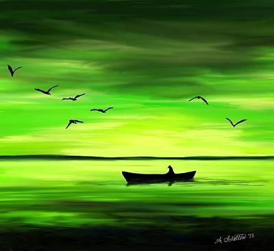 Ducks In Flight Digital Art - Sunrise Serenity On The Pond by Amy Scholten