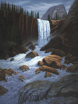 Yosemite Painting - Vernal Falls Yosemite  by Del Malonee