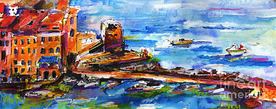 Painting - Vernazza Harbor Travel Italy by Ginette Callaway