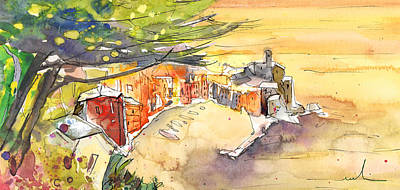 Impressionism Drawings - Vernazza in Italy 05 by Miki De Goodaboom