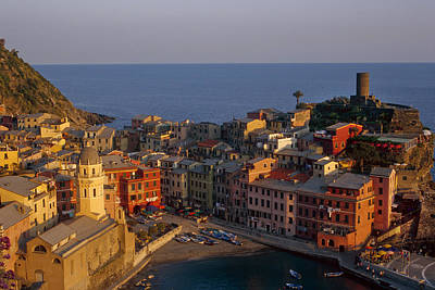 Dusk Photograph - Vernazza In The Evening by Andrew Soundarajan