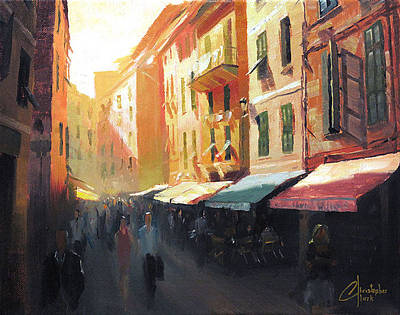 Tuscan Sunset Painting - Vernazza Italy Bustling Street by Christopher Clark