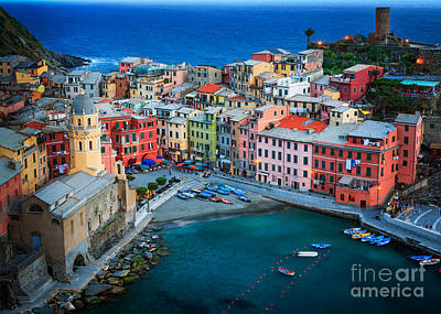 Christmas Cards - Vernazza Sera by Inge Johnsson