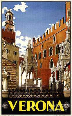 Verona Painting - Verona - Travel Poster For Enit - 1938 by Pablo Romero