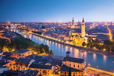 Verona At Night Art Print by Spooh