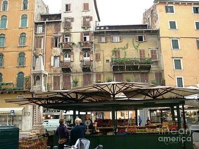 Verona Piazza Shops Art Print