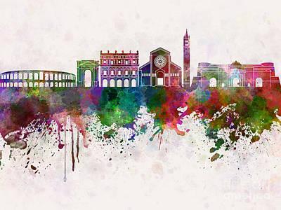 Verona Painting - Verona Skyline In Watercolor Background by Pablo Romero