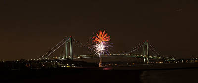 Photograph - Verrazano Narrows Bridge Fireworks by Kenneth Cole