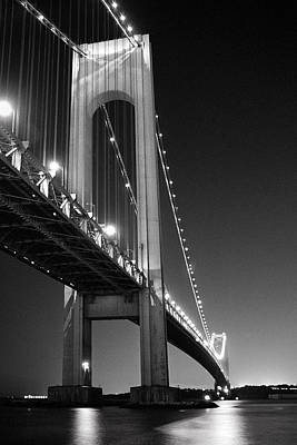 Art Print featuring the photograph Verrazano Bridge At Night - Black And White by Gary Heller