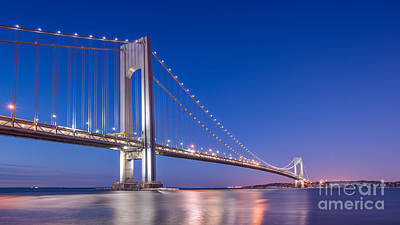 Verrazano Bridge Before Sunrise  Art Print by Michael Ver Sprill