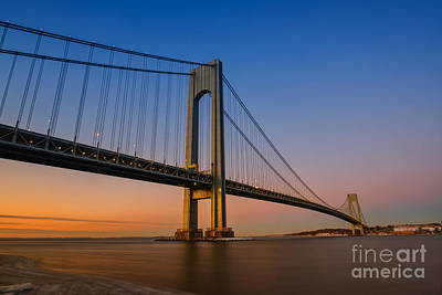 Verrazano Bridge Sunrise  Art Print by Michael Ver Sprill