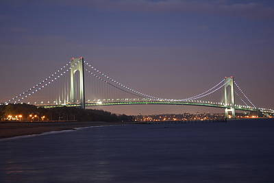 Verrazano Narrows Bridge At Night Art Print