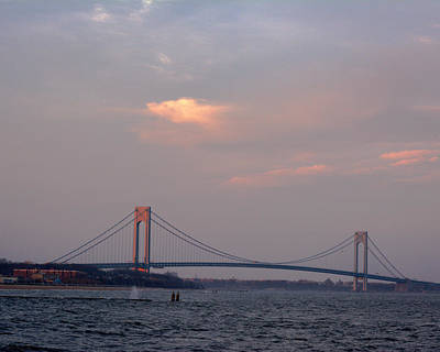 Photograph - Verrazano Narrows Bridge At Sunset by Kenneth Cole