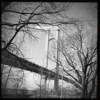 Photograph - Verrazano-narrows Bridge B And W by Frank Winters