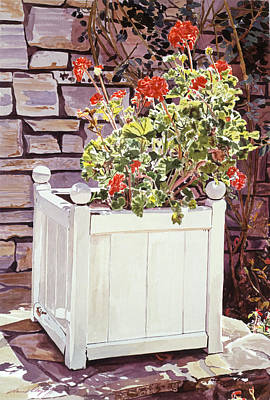 Planter Wall Art - Painting - Versaille Box Of Geraniums by David Lloyd Glover