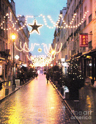 Rainy Street Photograph - Versailles France Romantic Rainy Night Street Scene At Christmas by Kathy Fornal