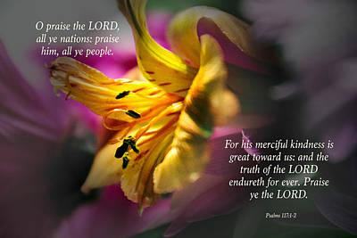 Verses From Psalms 117 Art Print