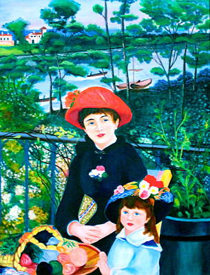 Version Of Renoir's Two Sisters On The Terrace Art Print by Lorna Maza