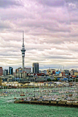 Vertical Auckland Skyline Original by Linda Phelps