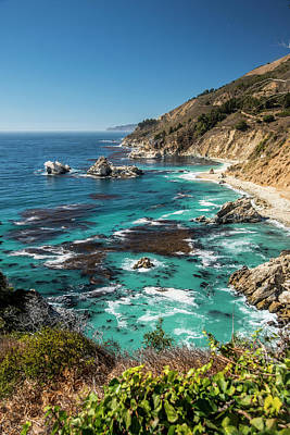Vertical Big Sur Coastline California Art Print by Sheila Haddad