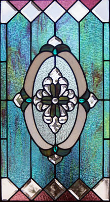 Vertical Blue Stained Glass Window Original by Linda Phelps