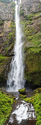 Landscapes Royalty-Free and Rights-Managed Images - Vertical Panorama of Multnomah Falls - Columbia River Gorge Oregon by Silvio Ligutti