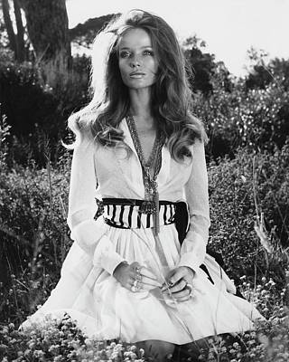 Veruschka Von Lehndorff Sitting In Tall Dress Art Print by Franco Rubartelli