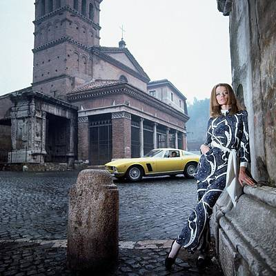 Veruschka Von Lehndorff Standing In Piazza Di San Art Print by Franco Rubartelli