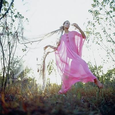 Veruschka Von Lehndorff Wearing A Nightdress Art Print by Franco Rubartelli