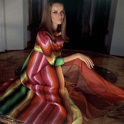 Veruschka Von Lehndorff Wearing A Striped Coat Art Print by Henry Clarke