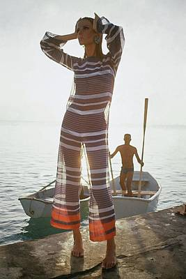 Travel Photograph - Veruschka Von Lehndorff Wearing Jumpsuit by Louis Faurer