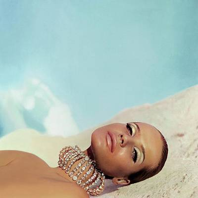 Bare Shoulder Photograph - Veruschka Von Lehndorff Wearing Makeup by Franco Rubartelli