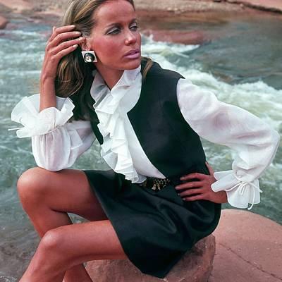 Photograph - Veruschka Von Lehndorff Wearing Ruffled Blouse by Franco Rubartelli