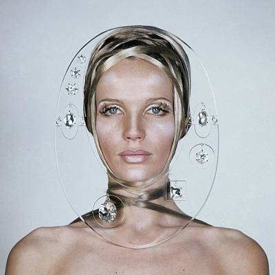 Veruschka Von Lehndorff's Face Framed By Clear Art Print