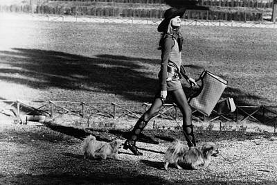 Suede Photograph - Veruschka Walking Dogs In Rome by Henry Clarke