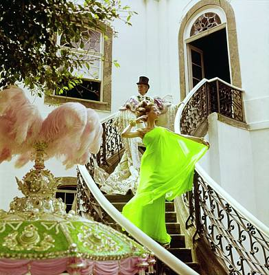 Photograph - Veruschka Wearing A Malcolm Starr Dress by Henry Clarke