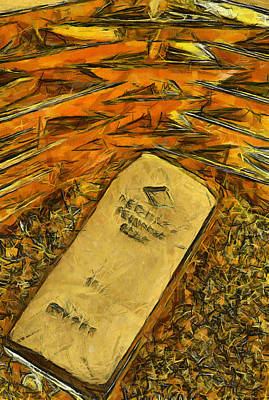 Painting - Very Beautiful Gold Ingots by Teara Na