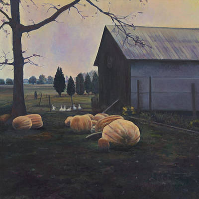 Painting - Very Big Pumpkins by David P Zippi