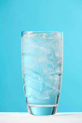 Very Full Glass Of Water With Ice Art Print by Greg Huszar Photography