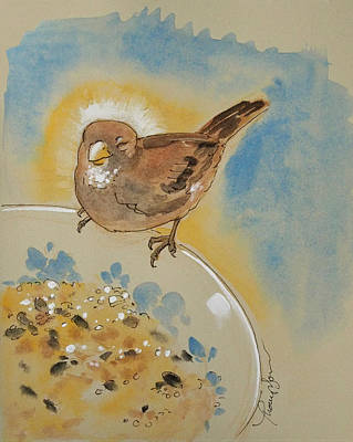 Sparrow Mixed Media - Very Happy Sparrow by Tracie Thompson
