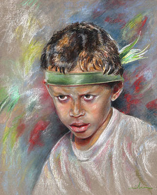 Painting - Very Young Maori Warrior From Tahiti by Miki De Goodaboom
