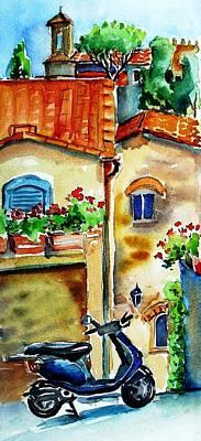 Vespa In Tuscany  Art Print by Trudi Doyle