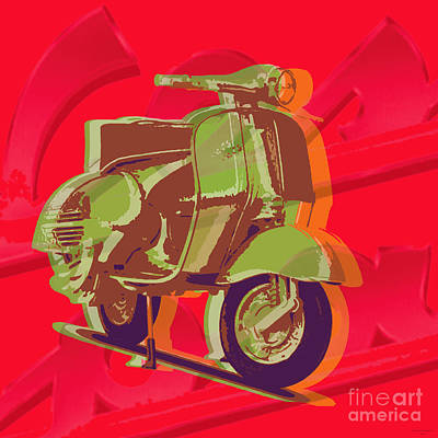 Digital Art - Vespa by Jean luc Comperat