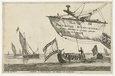 Vessel And Sailing Ships On Calm Water, Print Maker Reinier Art Print by Reinier Nooms And Dancker Danckerts
