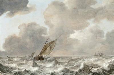 Vessels In Moderate Breeze Art Print